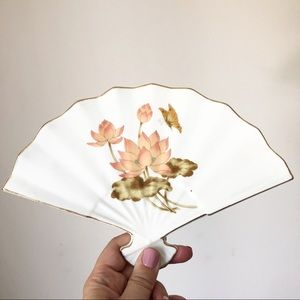 Vintage Ceramic Japan Fan Wall Decor Trinket Dish
